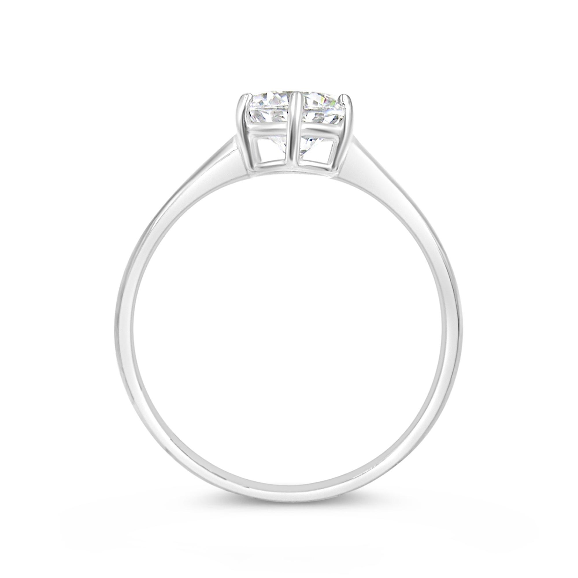 18kt wit goud verlovingsring met zirkonia