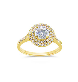 18kt yellow gold engagement ring with zirconia