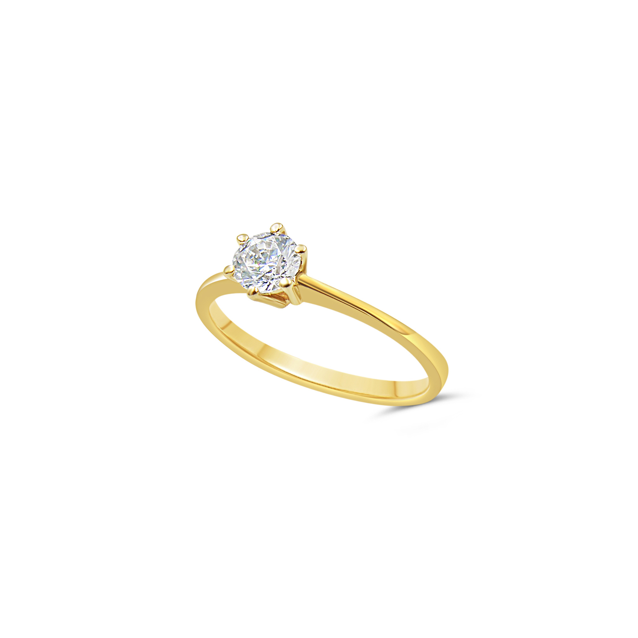 14kt yellow gold engagement ring with zirconia