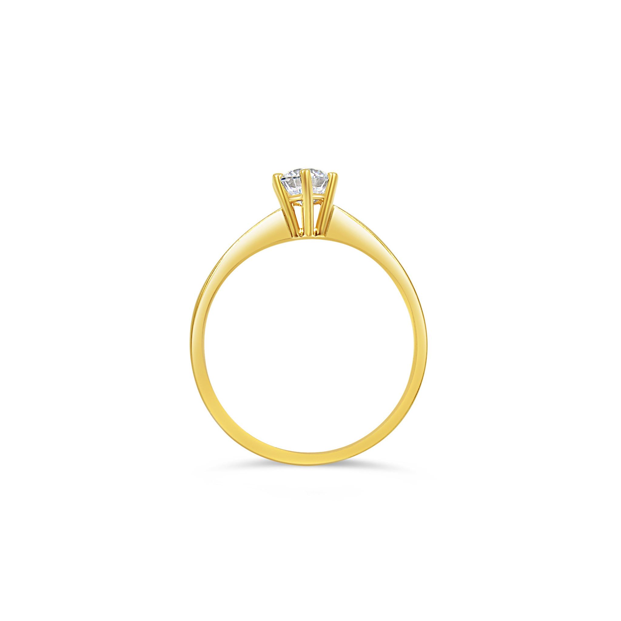 14kt geel goud verlovingsring met zirkonia