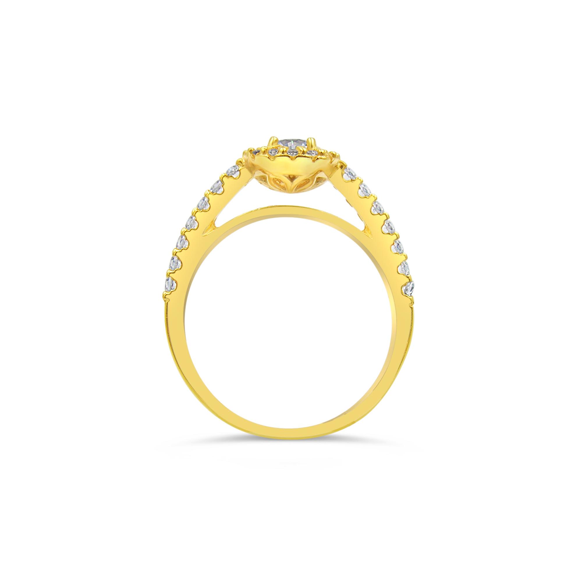 18kt geel goud verlovingsring met zirkonia