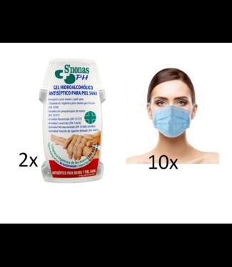 2 Stuks Desinfecterende Handgel + 10 Mondkapjes