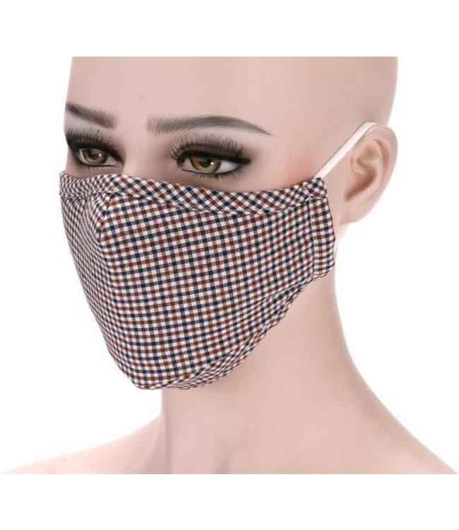 Mondkapje   mondmasker   gezichtsmasker   katoen, herbruikbaar, wasbaar - Ruitjes Blauw/brui