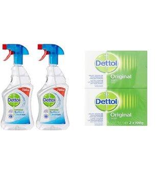 Dettol Voordeelpakket 4 x Handzeep 100 gram en 2 x Anti Bacterien spray 750 ml