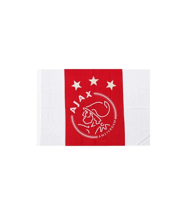 AJAX Vlag Wit Rood Wit logo 100 x 150 cm