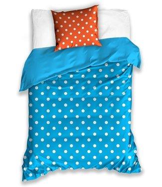 Dekbedovertrek Polkadotpatroon Oranje/blauw 140 X 200 Cm 507