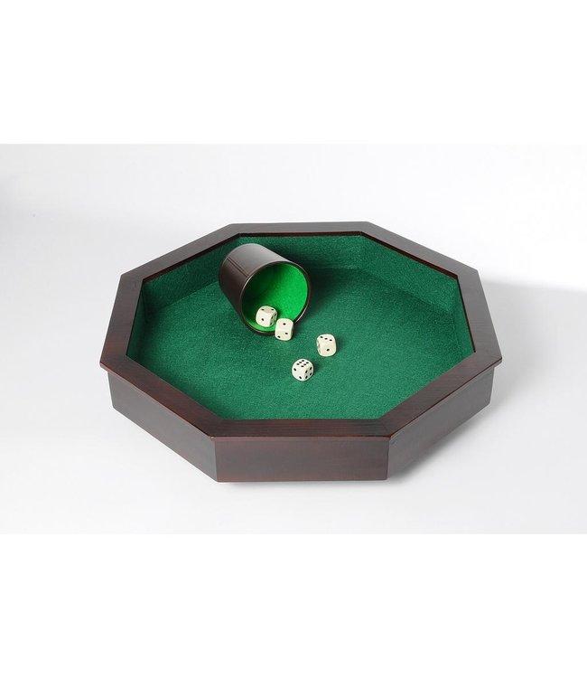 Dobbelspel + Pitjesbak hout 8-kantig, 38,5 x 38,5 cm
