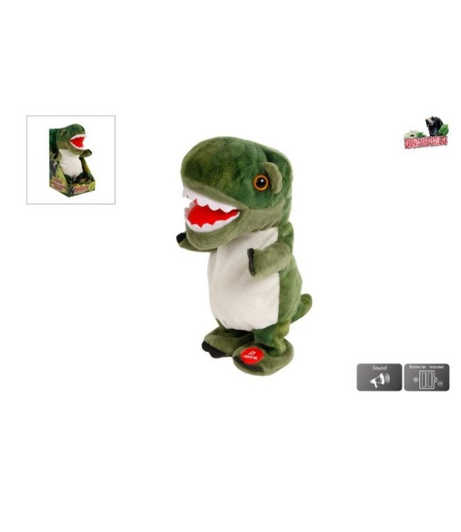 DinoWorld loopdino 20cm talking back incl batterijen