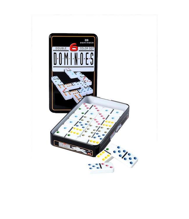 Domino dubbel 6 in blik, 28 domino stenen