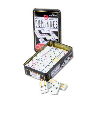 Domino dubbel 9 in blik, 55 domino stenen