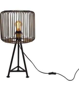 Tafellamp Rond Shade 28x28x56cm Staal Zwart/goud