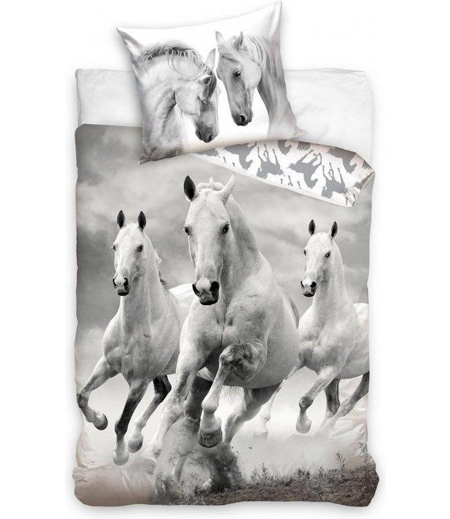 Paardendekbedovertrek 140x200cm Zwart / Wit (616)