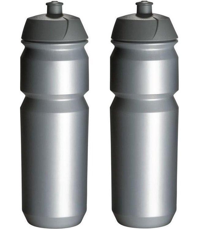 Bidon 2x Tacx Zilver met trektuit dop