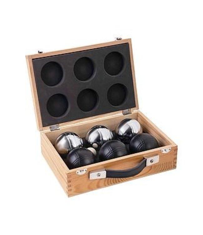 Jeu de boule, 6 ballen (3x zwart/3x zilver) in luxe houten l