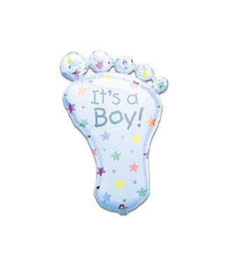 Folieballon foot 'It's a Boy' SuperShape opgeblazen