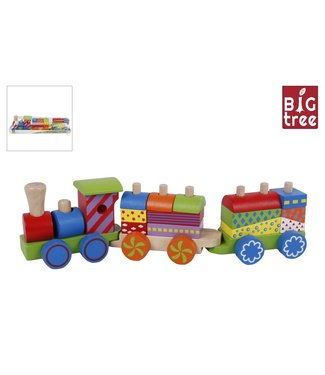 Big Tree treinset hout met 2 wagons 34x6,5x8,5 cm