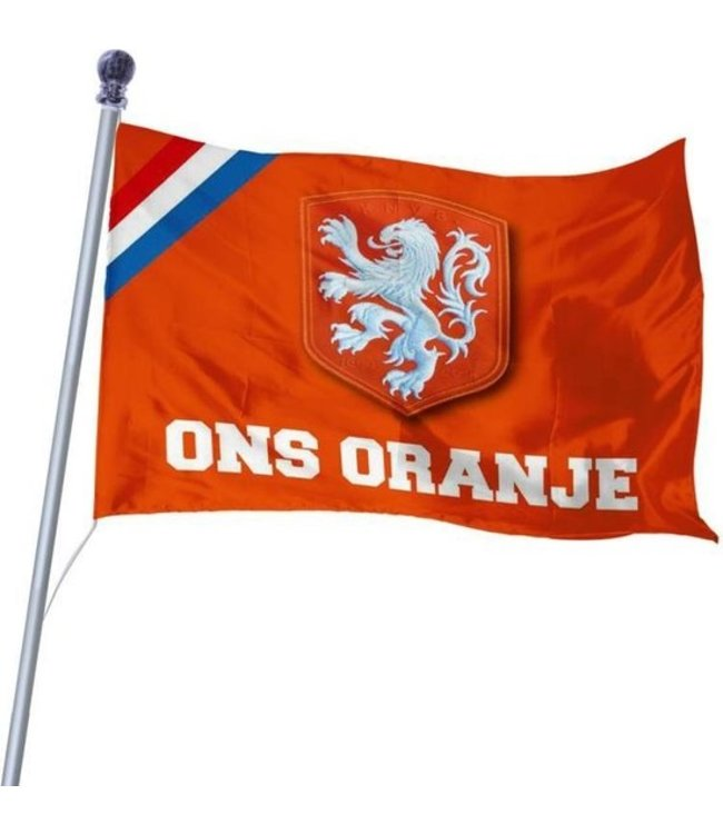 Vlag KNVB 150x225 cm - Ons Oranje-Maat-Stuks-Kleur-Oranje