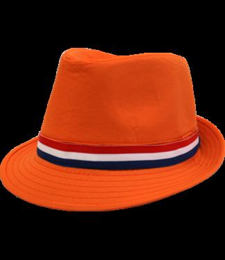 Oranje Maffiahoed katoen r/w/b bies