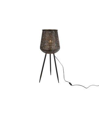 """Staande lamp """"Diana"""" W/E27 L zwart/goud metaal 28x28x76cm"""