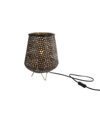 "Tafellamp ""Diana"" W/E27 S zwart/goud metaal 24x24x30,5cm"