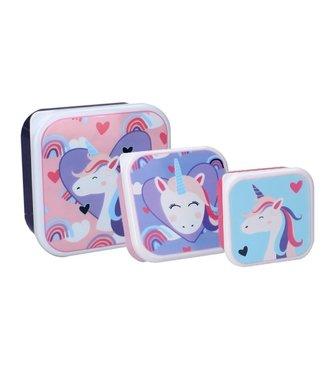 Unicorn Snackbox Pret Set 3 stuks