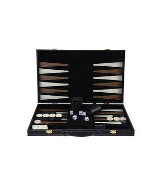 """Backgammon 18"""", met houten frame, kleur zwart in kunstlederm"""
