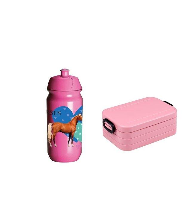Mepal Lunchbox & JQ Bidon Paarden Voordeelset