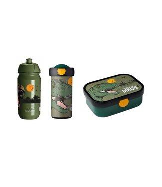 Dino Mepal Lunchbox, schoolbeker en JQ Bidon 500ML