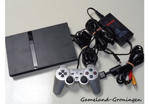 PlayStation 2 Slimline met Controller & Bedrading (Zwart)