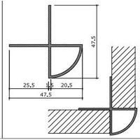 Hoekprofiel, 90 gr. L=2500 mm, geanodis. alu
