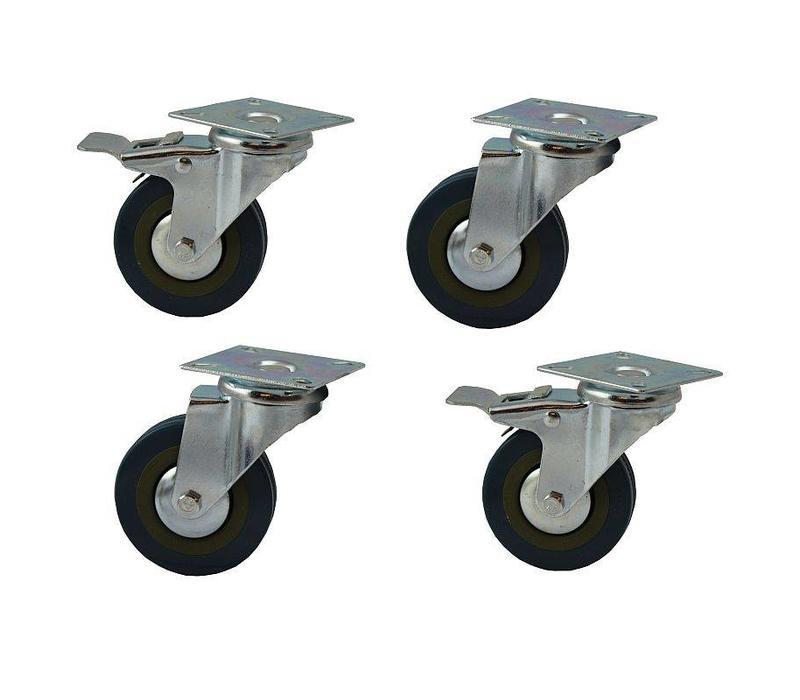 Set (4 stuks) stevige wielen, 1/2 geremd, rond 75 mm