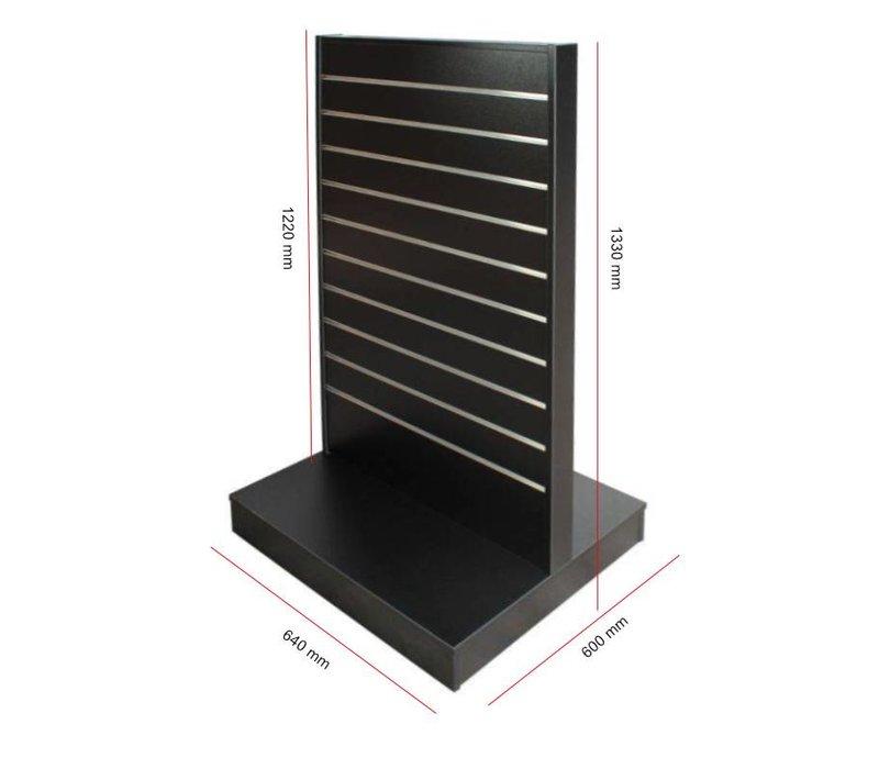 Displayrek-600, Model: NK70, ZWART, v.v. stevige wielen