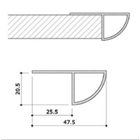 Randafwerking, alu, kwartrond profiel, L=2400 mm