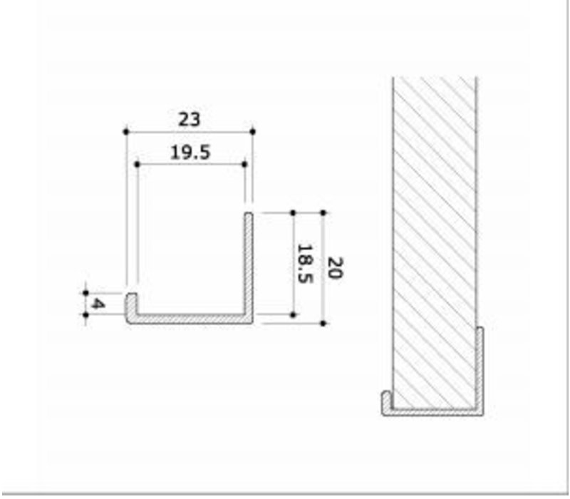 Randafwerking, alu, vlak, H=1200 mm - WIT
