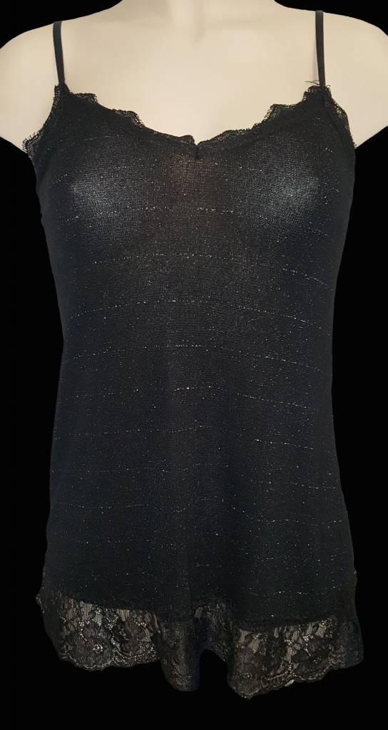 hemdje met spaghettibandjes - zwart - glitter