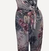 Jumpsuit grijs met roze bloemen