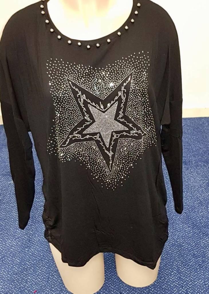 Shirt met ster en diamantjes - zwart
