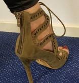 Sandalen met hoge hak - khaki