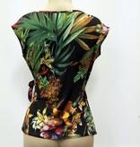 Overslag top - kleurenprint - zwart