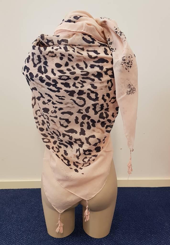 Tijgerprint sjaal - roze