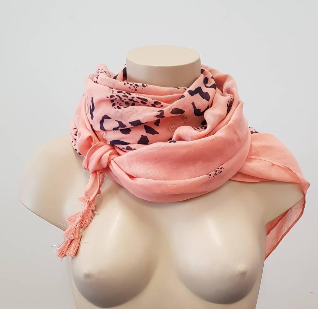 Tijgerprint sjaal - zalm