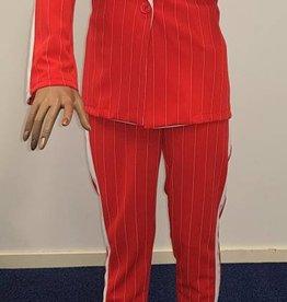 Krijtstreep blazer met pantalon - oranje/rood