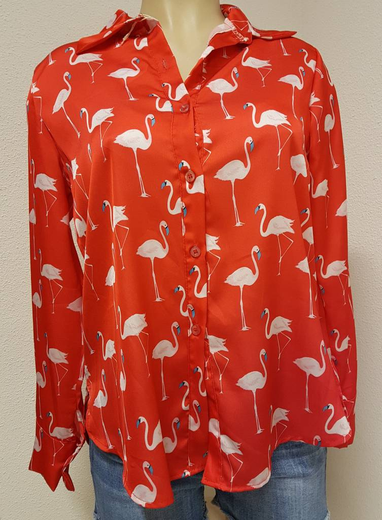 Flamingo blouse - oranje/rood