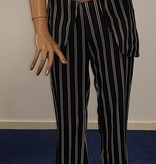 Krijtstreep blazer met pantalon - zwart
