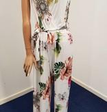 Ella Style Witte jumpsuit met bloemmotief