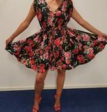 Zwart geplooide jurk met rozen
