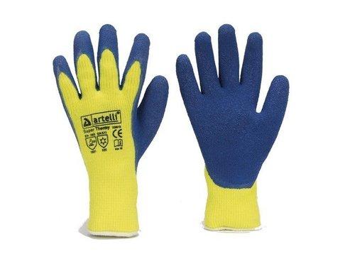 Winterhandschoenen Latex blauw/geel