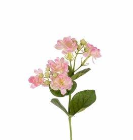 Jasmine branch (Jasminum), x5 flrs, 10 buds & 6 lvs, 35cm
