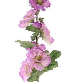 """Alcea rosea, malva real, """"Spring Dream"""", 9 flores, 7 capullos,  9 hojas, flocked stem, 87cm"""