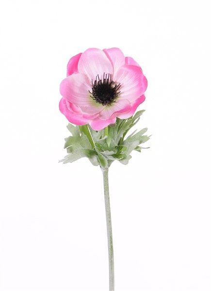 "Anémona ""Lisa"", flor: Ø 7cm, 6 hojas, 32cm"